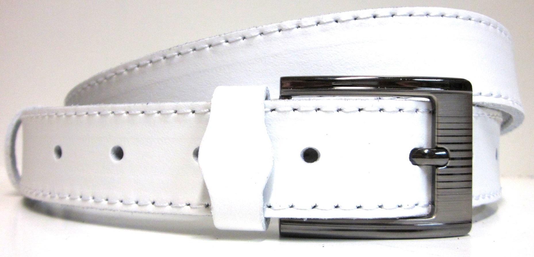 aafcfc1ef45 Bílý opasek - kožený opasek s velkou přezkou bílý